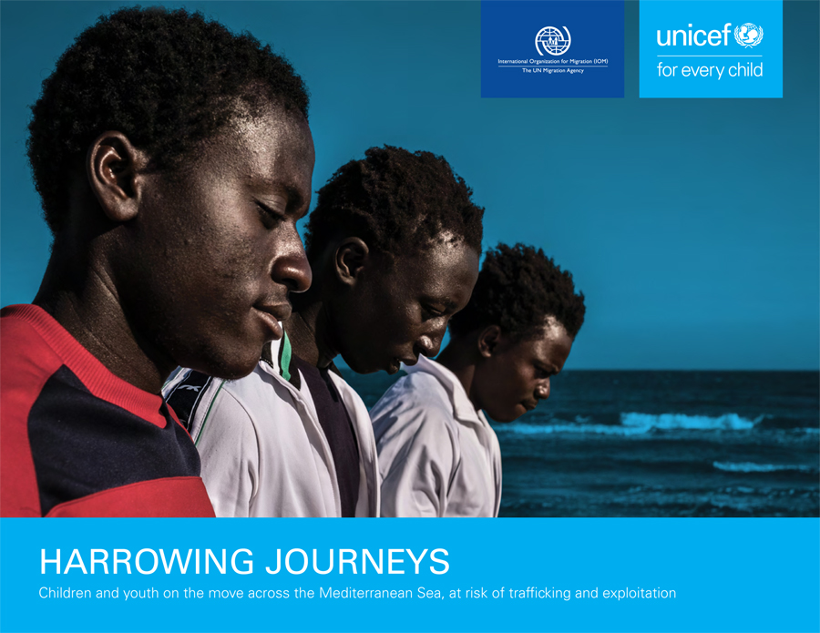 "Cover UNICEF-Report ""Harrowing Jouneys"""