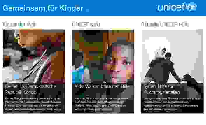 UNICEF-Windows8-App. Screenshot der App.